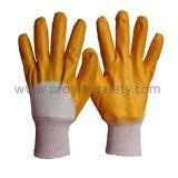 De Katoenen van de koppeling Gele Nitril Met een laag bedekte Handschoen van de Voering met Open Rug