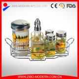 Ziboの卸し売りガラス小さなかんはラックによってセットした