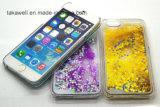 Caja de encargo barata de la PC de la arena movediza para el iPhone 5 caso de la cubierta del teléfono celular de la arena de 6 líquidos