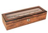 Rectángulo de regalo de madera del embalaje de la visualización del reloj de Brown del alto final antiguo del lustre con la ventana