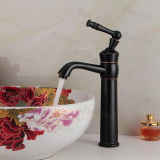 천체 Black Solid Brass High Body Freestanding Elbow Spout Single Handle One Hole Hot와 Cold Water Mono Basin Mixer Faucet Taps