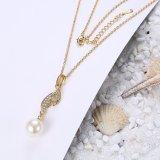 De milieu Goud Geplateerde Halsband van Zircon van de Parel van de Vorm van het Blad voor Vrouwen