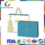 Bolso rectangular de lujo de la joyería con la impresión del modelo del oro
