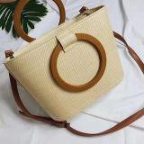 Bolsa popular da palha do verão para o saco na moda quente de Shoudler da praia das mulheres dos produtos das senhoras com punho Sh137 do círculo