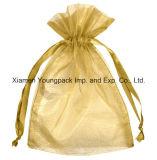 Personalizado Impresso Pequena Prata Cinza Jóias Organza Drawstring Pouch Bag