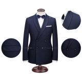 Doppelte Breasted blaue Mann-Anzüge mit Schal-Muffe