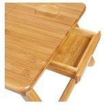 Tableau en bambou pliable avec le petit tiroir, bureau en bambou d'ordinateur