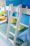 옷장과 서랍을%s 가진 백색과 파란 단단한 나무로 되는 아이 침실 세트