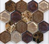 Mattonelle di mosaico di vetro esagonali del materiale da costruzione con il ghiaccio di Crackle di ceramica