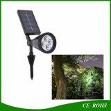 Projecteur extérieur d'horizontal de pelouse de pelouse de 4 DEL de jardin de lampe de lumière solaire solaire d'endroit