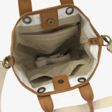 백색 방수 처리하십시오 세척한 Kraft 종이 어깨에 매는 가방 핸드백 (16A086)를