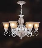 Tonalità di lampada bianca di vetro glassato con il pendente nero del blocco per grafici di rivestimento del metallo