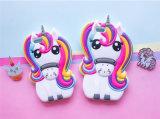 Tampa macia das caixas do telefone de pilha do silicone dos desenhos animados animais bonitos quentes do cavalo do unicórnio do arco-íris 3D para o iPhone 7 7plus (XSDW-102)