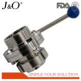 Válvula de borboleta sanitária elevada do punho da tração do aço inoxidável da linha de Quanlity