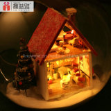 2017 Dollhouse de madera hermoso hecho a mano del juguete DIY con los regalos románticos de la bola de cristal para la novia Mini-Mechrismas