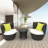 Patio-Garten-Balkon sitzt Möbel-rundem grauem Rattan-Sofa-Stuhl vor