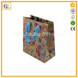 Förderung-Geschenk-Papierbeutel in aufbereitetem Braunem Packpapier mit Farben-Drucken