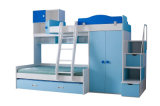ワードローブおよび引出しが付いている白くおよび青の固体木の子供の寝室セット
