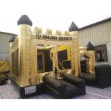Kundenspezifischer Goldplane-aufblasbarer Schloss-Prahler