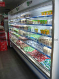 Refrigerador do indicador da cortina de ar aberto do supermercado