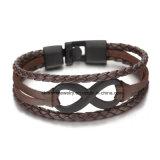 Het 8-woord van de Juwelen van Shineme de heet-Verkoopt Armband van het Koord van het Leer (BL2847)