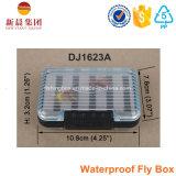 Caixa de pesca plástica frente e verso transparente da mosca