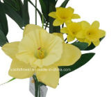 Única haste flor artificial/plástica/de seda do Daffodil (XF30025)