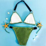 Neue Ankunfts-Nizza grüne Farben-Bikini-Badebekleidung, die Klage-Badebekleidung auf den Strand setzt