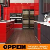 Moderne industrielle Art-roter hoher glatter Lack-Küche-Schrank (OP16-L25)