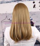 긴 똑바른 형식 강타를 가진 합성 머리 가발