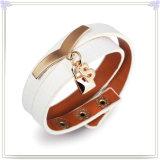 De Armband van het Leer van de Juwelen van het Leer van de Juwelen van het roestvrij staal (LB841)