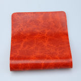 ソファーの家具製造販売業(F8002)のための光沢のある大理石模様をつける表面デザインによって編まれるBottem総合的なPUの革