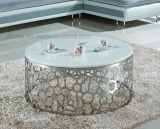 Tableau de marbre blanc moderne rond de sofa de meubles d'acier inoxydable (CT033L#)
