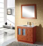 Vaidade do banheiro da madeira contínua com a bacia do vidro Tempered