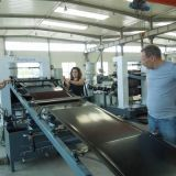 Drei Kalender-Plastikblatt-Film-Strangpresßling-Zeile Plastikextruder