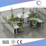 Moderna recta 4 Asientos L tabla de la forma Muebles de Oficina de estación de trabajo