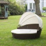 Wohles Furnir T-046 Brown Relexing Kreisrattan-Tagesbett mit Kabinendach für Garten