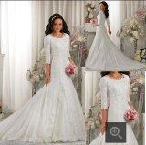 Moslemische lange Hülsen-Spitze-Brautballkleid-Hochzeits-Kleider Y1020