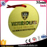 Medalla en blanco del metal de la concesión del deporte del balompié del oro con la cinta