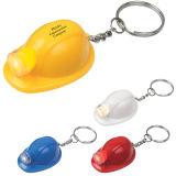 Sorteo promocional duro de encargo del abrelatas de botella de Keychain LED del casco del plástico LED