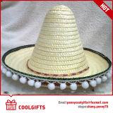 Sombrero de paja grande al por mayor de México con las bolas de los Pompoms del borde