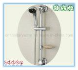 La barre coulissante de longeron de douche de main d'acier inoxydable a placé avec le plateau de savon