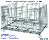 Collapsible de aço Wire Mesh Cage/Storage Basket para Pallet Rack