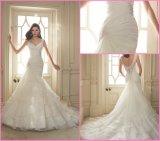 Vestido de casamento frisado nupcial Y1647 da sereia do vestido de esfera de Organza