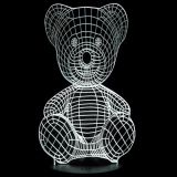 Lámpara de mesa de noche 3D LED Teddy Bear blanco