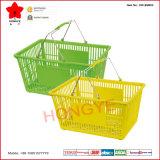 Panier à provisions en plastique portatif de double poignée en métal pour le supermarché (OW-BM003)