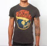 T-shirt gris d'hommes de vente en gros d'été de coton d'impression faite sur commande d'écran