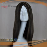Mão cheia peruca longa superior de seda amarrada do cabelo do preto escuro da base do laço
