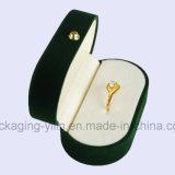 中国の工場簡単な楕円形のビロードの宝石類Wedding Double Ringsのためのボックス