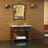 Module de salle de bains antique en bois solide de type avec le miroir
